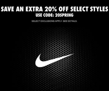 EXTRA 20% off Nike Spring Sale + Free Shipping