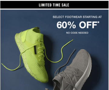 60% off Select Footwear Limited Time Sale