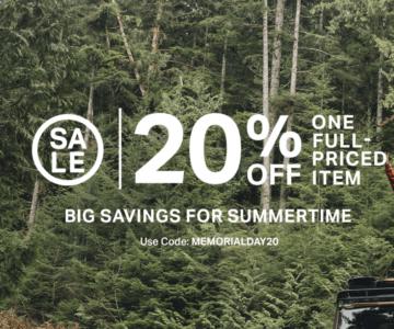Backcountry – 20% off 1 Full Priced Item
