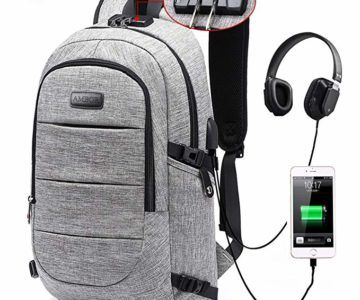 Waterproof Locking Laptop Backpack with charging and headphone ports for $18.89 (normally $60)