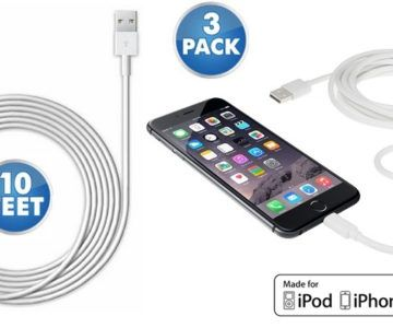 3-Pack of 10 Foot  MFi-Certified iPhone Charging Cables for just $11