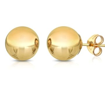 14K Solid Gold Ball Stud Earrings on sale for only $10