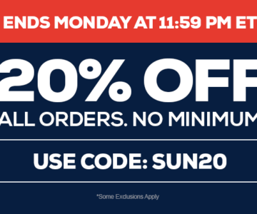 20% off all orders – Jerseys, Hats and More – Ends Midnight