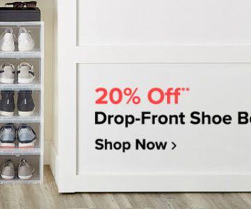 20% off Drop Front Shoe Boxes