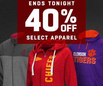 ENDS TONIGHT – 40% off fan apparel