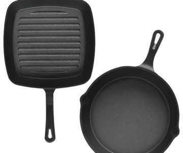 2 Pack Cast Iron Skillet and Grill Set for only $13.99 w/coupon