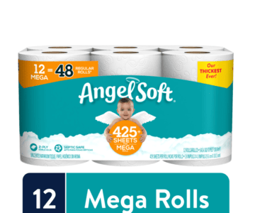 12 Mega Rolls of Angel Soft Toilet Paper (48 Regular Rolls) for Under $10 (shipping now)