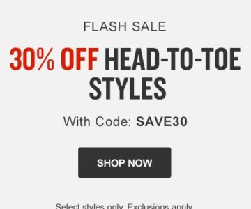 30% off select styles at Finish Line